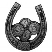 Подкова-оберег декоративная из металла. Размер 130х115мм. Монеты