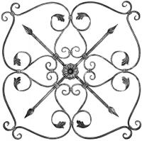 Розетка из вальцованного квадрата 12мм. 800х800мм