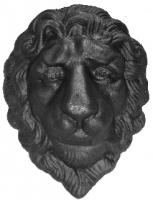 Голова льва литая из металла. Размер 138х107мм